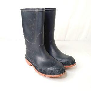 Boys Black & Orange Rain Boots